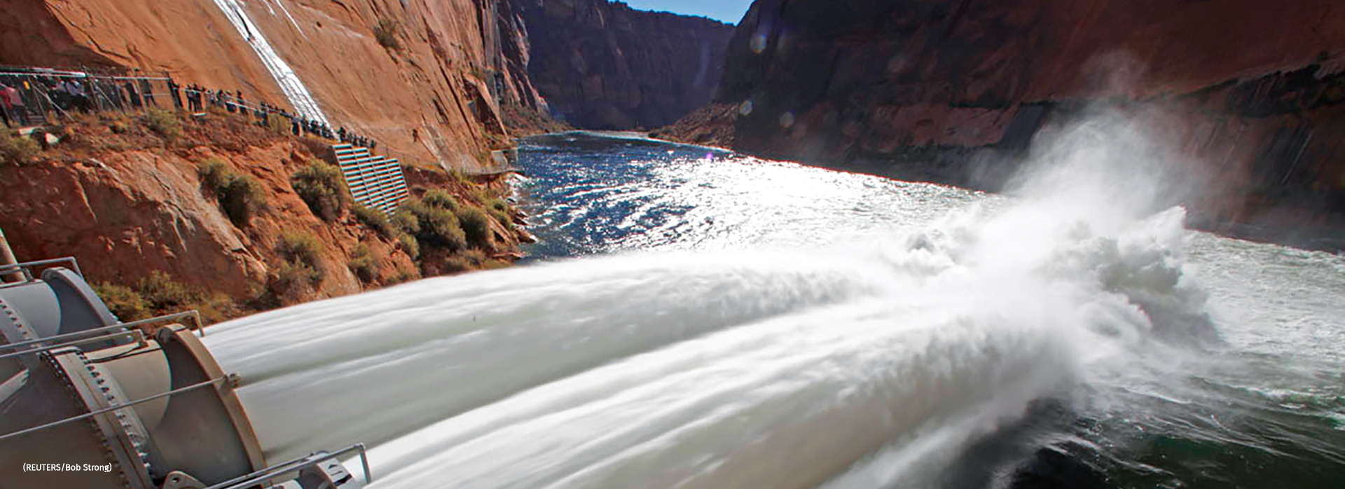 River outlet tubes during a high flow release from the Glen Canyon Dam
