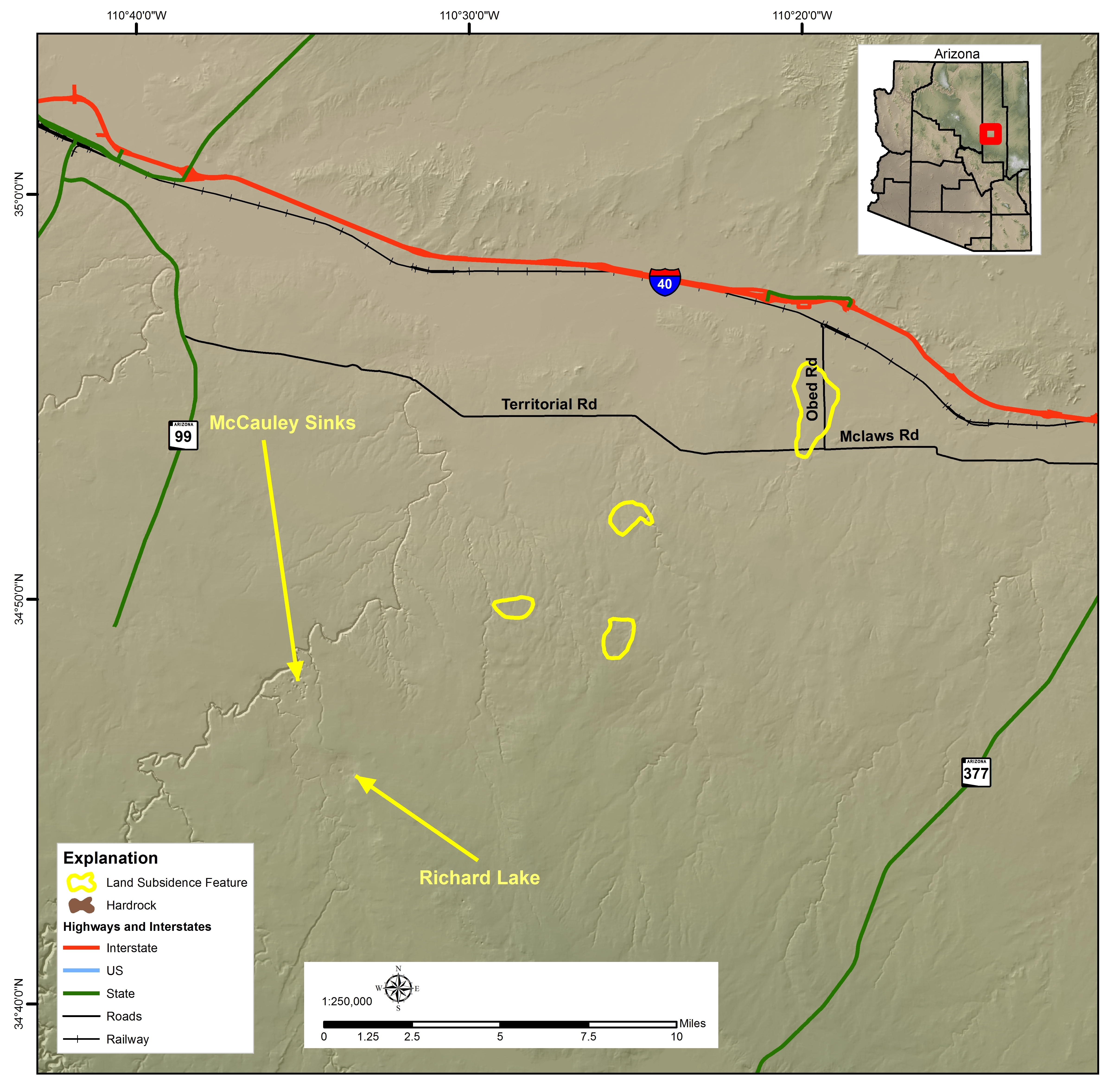Holbrook Basin Land Subsidence Features