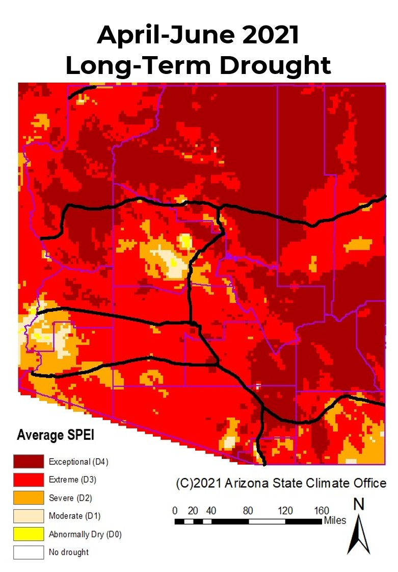 April-June 2021 Long-term Drought Status Map