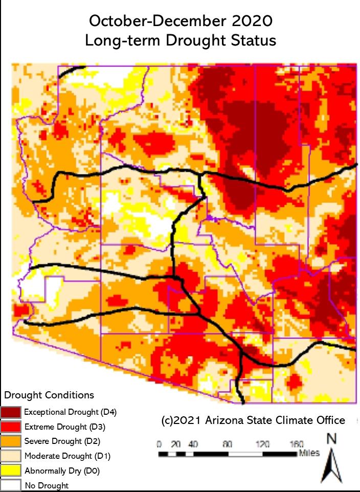 December 2020 Long-term Drought Status Map