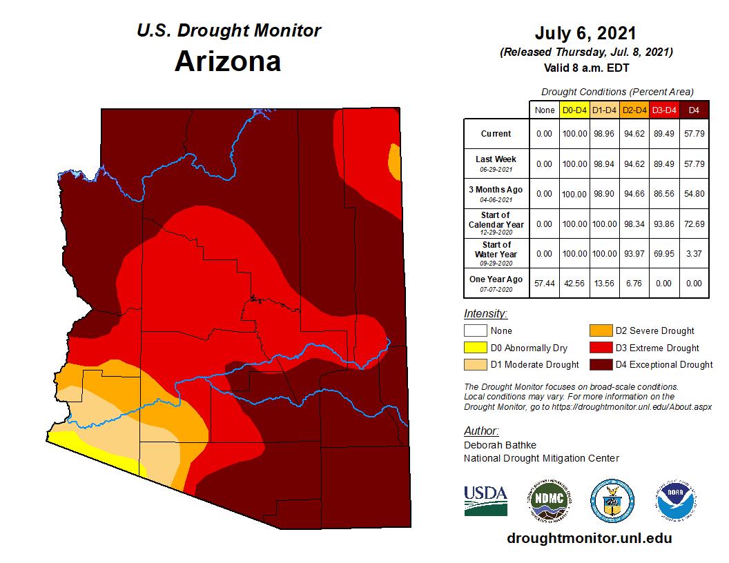June 2021 Short-term Drought Status Map